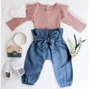 Little Girl Tie-Waisted Matching Outfit Set